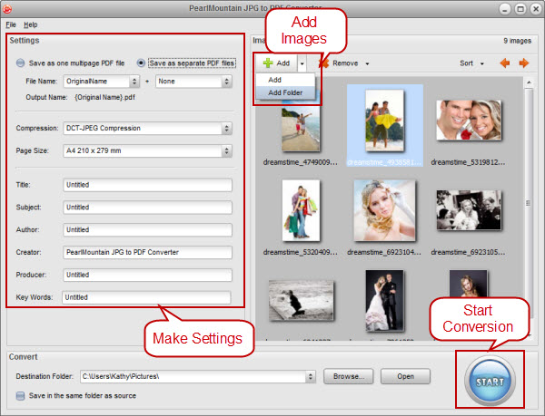 Getting started tutorial - PearlMountain JPG to PDF Converter
